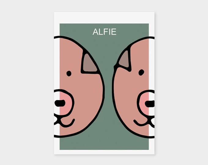 "Birth Announcement Card ""Pig"" 
