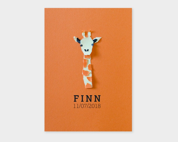 Print ready unisex birth announcement card with a giraffe  | Paper art | Minimalistic design and typography