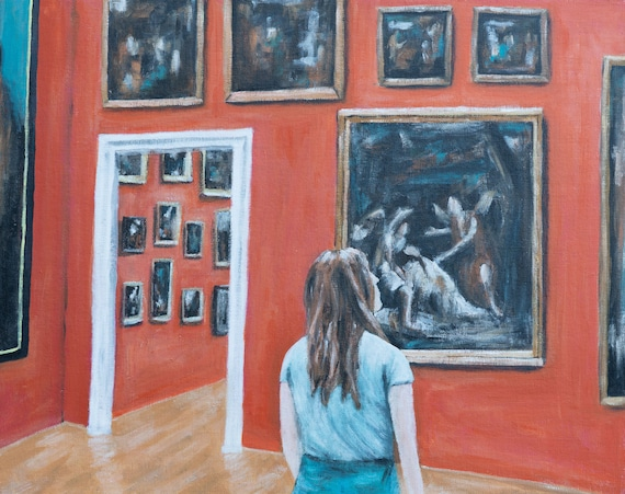 At The Museum | Buy a Print, Give One Away | Available as Original Painting, Art Print or Download