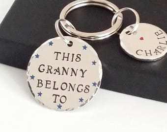This Grandma Belongs To Personalised Keyring, Personalised Nana Nanna Gift, Personalized Grandma Keyring, Personalised Nanny Keychain