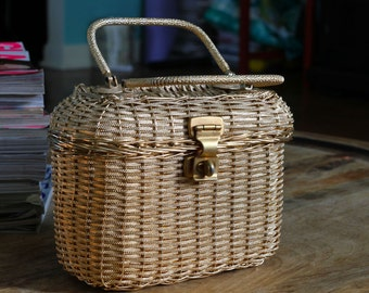 Vintage Woven Gold Metallic Handbag