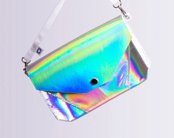 silver holographic bum bag / cross body bag