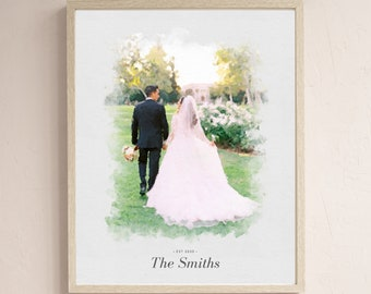 birthday engagement anniversary wedding Valentines Day Gift for lovers Family Portrait Custom watercolor stylized Portrait From Photo