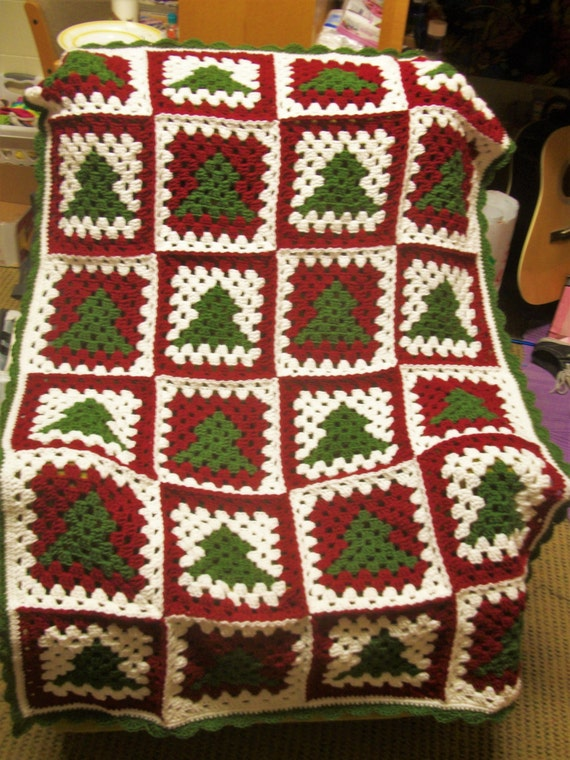 Crochet Pattern Christmas Tree Granny Square Afghan Etsy