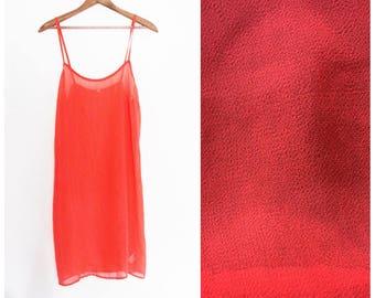 90s SHEER SWIMSUIT COVER // vintage 1990s see through dress spaghetti strap medium large pink salmon orange neon beach bathing suit swim m l