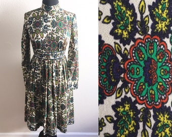 60s PSYCHEDELIC DRESS / vintage retro paisley dress hippie dress long sleeve dress festival dress lsd acid trip dress small medium dress