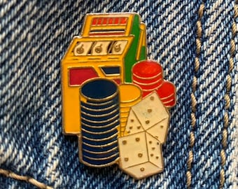 aa905e3e68b GAMBLING PIN / vintage pin enamel pin 80s 80's pin hat tac tie tac pinback  button jacket pin gift present lapel pin slot machine dice vegas