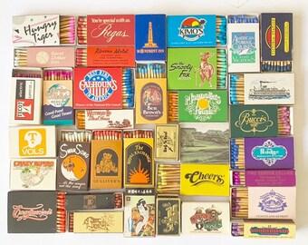 30 VINTAGE MATCH BOXES / matchbooks matches retro collection smoker wooden strike art advertisements home decor rainbow cigar bar