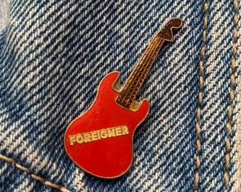 4c8c5de4c68 FOREIGNER PIN   vintage guitar pin 80s music pin 80 s pin hat tac tie tac  pinback button jacket pin enamel pin gift present lapel pin