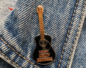 2c03ffcfc0a KENNY ROGERS PIN   vintage guitar pin 80s music pin 80 s pin hat tac tie  tac pinback button jacket pin enamel pin gift present lapel pin