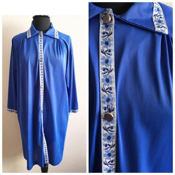 70s FLOWER TRIM HOUSECOAT   vintage robe blue retro house coat b47d34857