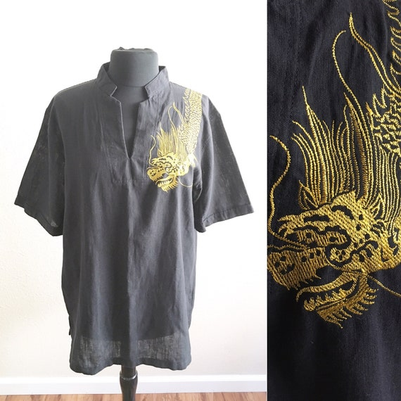 70s GOLD DRAGON SHIRT / vintage embroidered shirt