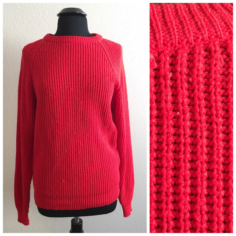 0ee63361ac753e 80s SLOUCHY RED SWEATER   vintage yarnworks oversized small