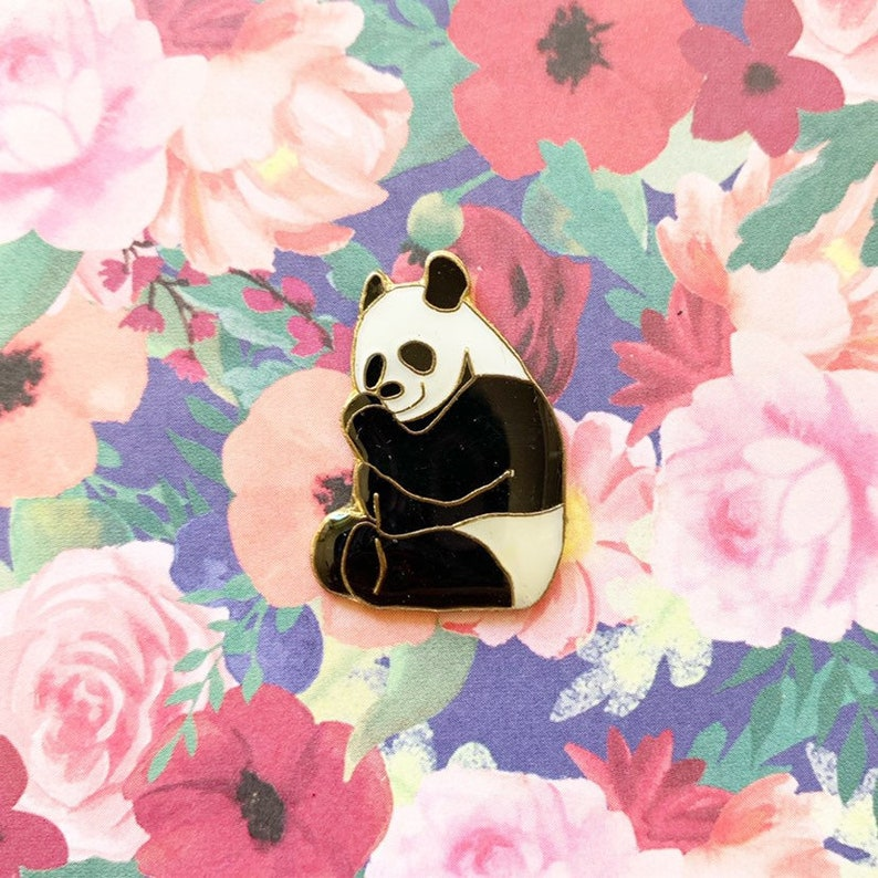 PANDA BEAR PIN  vintage pin enamel pin 80s 80/'s pin hat tac tie tac pinback button jacket pin gift present lapel pin stocking stuffer