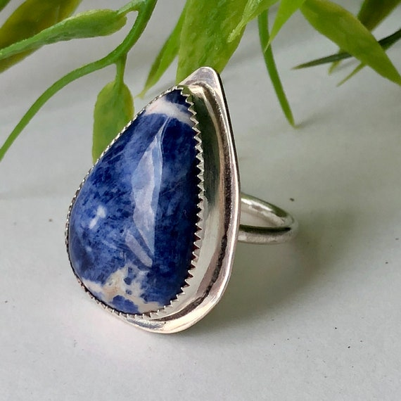 Natural Sodalite  in 925 Sterling Silver,Silver Ring Boho Ring Sterling Ring Gift For Mother Sodalite Ring