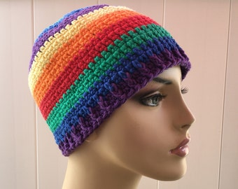 9ee5a9b8b64 Crochet Rainbow Chemo Beanie made out of Cotton. Cancer Patient Cap Gifts  Made to order