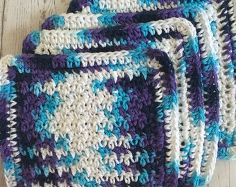 Wash Cloths Kitchen Cotton Dish Cloths Baby Cloths Crochet Wash Cloth Blue Purple Turquoise Set of 4 Made to Order