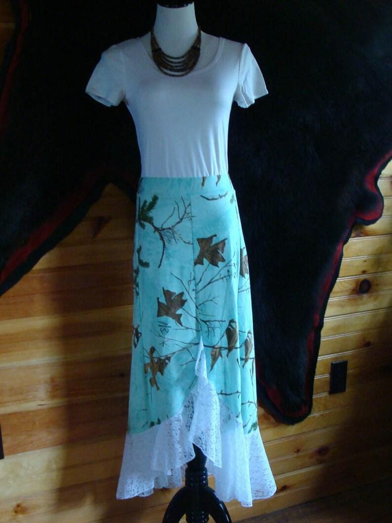 Maxi Skirt Lace,Teal Camo Hunting Camo Womens,Plus Size,Teens Long Maxi Skirt Made in USA Custom Made