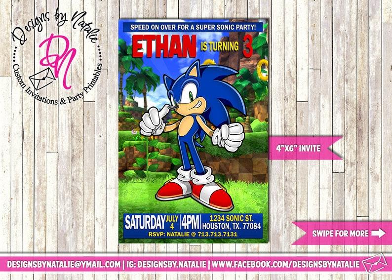 Sonic The Hedgehog Birthday Invitation Etsy