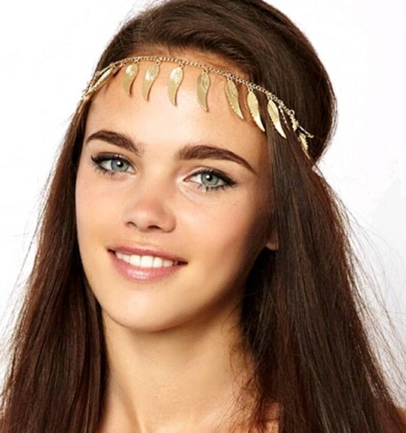3ed5638bf3341 Bohemian Headband, Bridal Hair Jewelry, Goddess Headchain, Gold head chain  gold hair jewelry, Bridal Headchain, Hair jewelry for prom