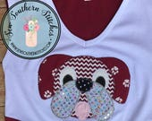 Zig Zag Bulldog Head Applique Design Zig Zag Finish Quick Stitch Instant Download