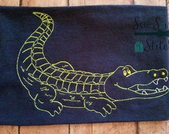fcc2b55498ef34 Sketched Alligator ~ Vintage Stitched ~ Heirloom Stitched ~ Bean Stitched ~  Instant Download