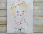 Sketched Glamor Girl Vintage Stitched Heirloom Stitched Bean Stitched Instant Download