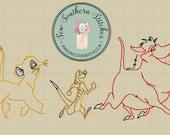 Sketch Friend Trio Instant Download Vintage Sketch Bean Heirloom Stitch