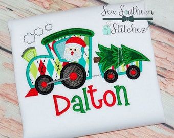 Christmas Tree Train Applique Design ~ Santa Driver ~ Instant Download