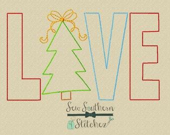 Raggedy LOVE Christmas Tree Applique Design ~ Quick Stitch Applique Design ~ Instant Download