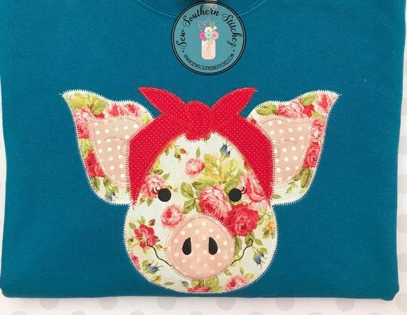 Zig zag piggy with bandana applique design quick stitch miss etsy