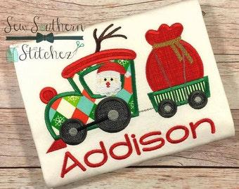 Christmas Reindeer Train Applique Design ~ Santa Sack on Trailer ~ Instant Download