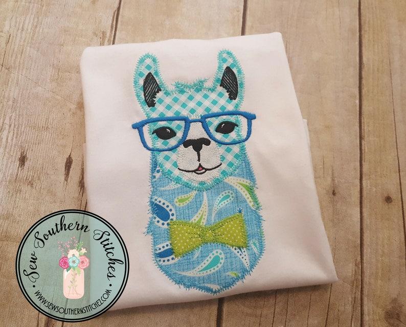 Zig zag boy llama applique design cravatta e occhiali etsy