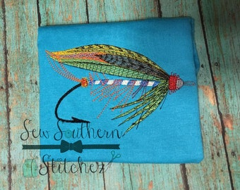 Feathered Fishing Lure Embroidery Design ~  Quick Stitch ~ Instant Download