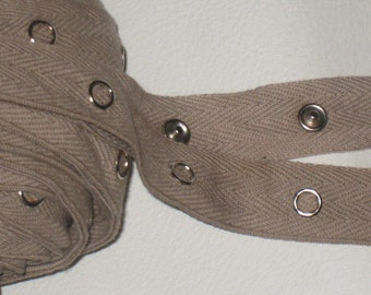 """1 yard Olive Army Green Cotton Twill SILVER metal snap tape 3//4/"""" wide closure"""