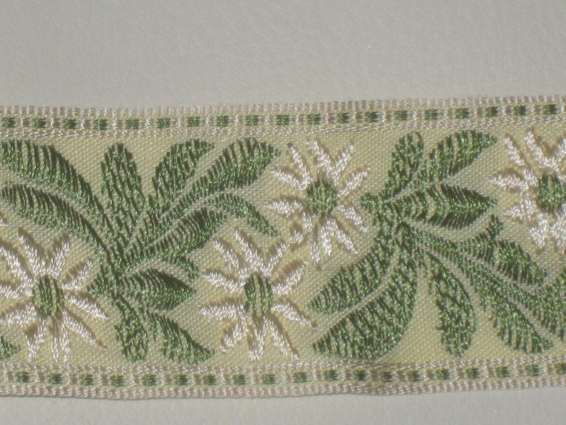 ivory spearmint green color with floral pattern embroidery trim b2 2 yards in 1 58 width woven poly cotton tapestry trim in nile green