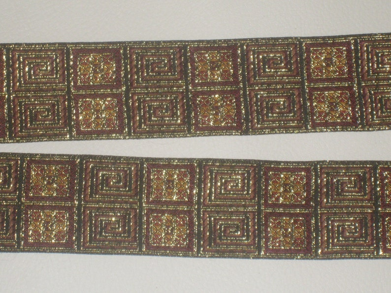 3 yards in 1 12 width woven greek key and multi pattern trim gold /& dark brown color polyester b2 high end brocade trim for your fashion
