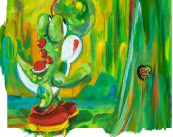 Nintendo Fan Art, Yoshi, 13x19 Art Print, The Giving Tree, painted by Cole Brenner, pop artist, video game, retro, nintendo, Super Mario