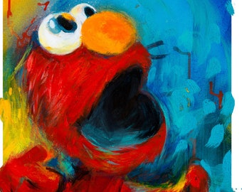 Elmo, Sesame Street, Pop Art, Print,Baby Nursery Art,Home Decor kids,Wall Hanging,Kids Room Art,Baby Shower Gift, Colorado Live Painting