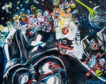 Lego Art, Star Wars Art, Fanboy, Darth Vader, Star Wars Legos, Lego Scene, Lego Poster, Game Room Art, Dark Side, Force Awakens, Lego Game