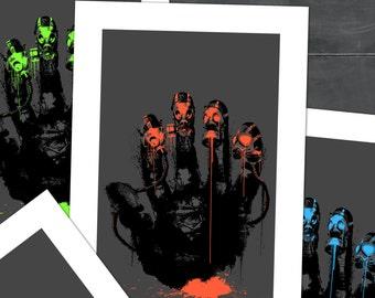 Gasmask Street Art, Poster Print,  Stencil Art, Video Game Art, Cole Brenner, Superhero Nap Time, Gameroom, colorado artist, for gamers
