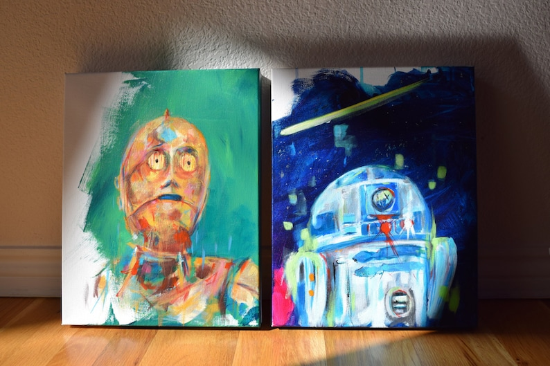 Star Wars, C3PO, R2D2, Droids, ArtSale, Cole Brenner, featured in two Colorado magazines, Save 100,Set, 11x14, the force awakens, new, gift