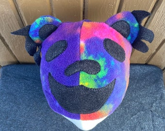 Grateful Dead Inspired Dancing Bear Fleece Beanie All Sizes Available Blue Teal Purple Galaxy With Purple Accents