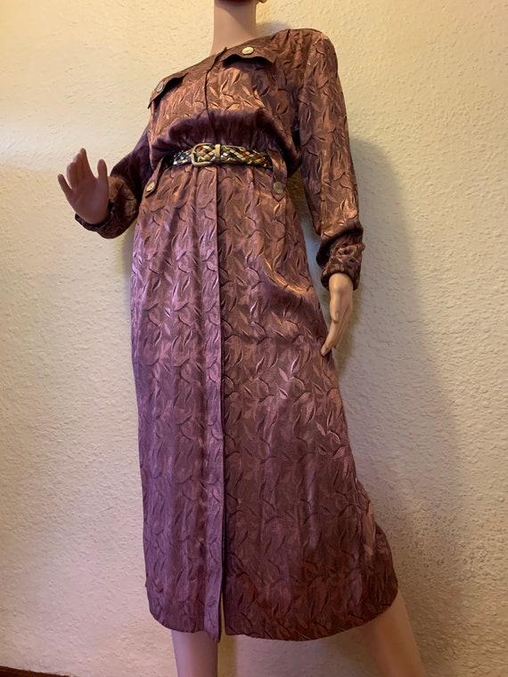 Genuine Vintage 80s Dusty Pink Jacquard Satin Dres