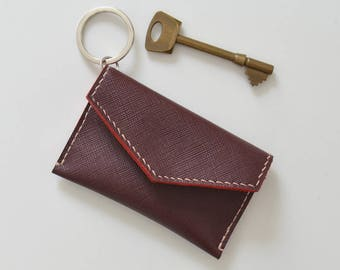 GLEN leather keychain wallet / personalised leather card holder keyring leather wallet keychain coin bag keychain change purse keyring pouch