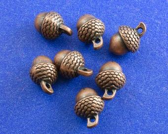 """10 pcs -Copper Acorn Charm, 3D Acorns, 15mm x 10mm (5/8"""" x  3/8"""") Brown Acorn, AC-B0082480"""