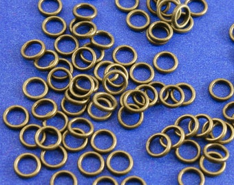 100 pcs -6mm Antique Bronze Closed Jump Rings, Antique Brass Soldered Jumprings, Round Jump Rings, 6mm Dia-  AB-B22037