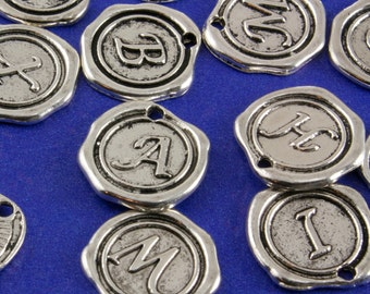 Wax Stamp Alphabet Charms, 1 or 5 pcs, Initial Charm, Letter Charm, Initial Pendant, Letter Pendant, Alphabet Pendant B15777