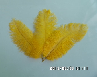 Gold Ostrich Feather Plume Large 16-22 inch per each