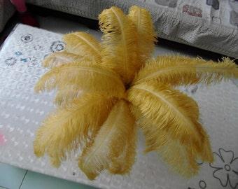 100pcs golden Ostrich Feather Plume for Wedding centerpieces,
